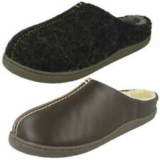 Mens Clarks Warm Lined Leather Slip On Rounded Toe Mule Slippers - Relaxed Style