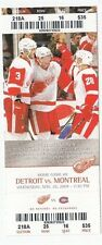 2008 DETROIT RED WINGS VS MONTREAL CANADIENS 11/26 TICKET STUB PAVEL DATSYUK