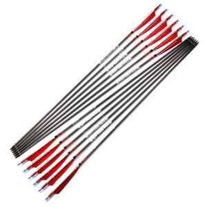 """6pcs 31"""" Carbon Arrows Archery Target Spine 500 OD 7.5mm For Compound & Recurve"""