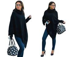 Mujer Cálido Poncho + Guantes Mitones Jersey Suéter Capa de Chaqueta