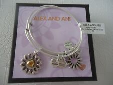 Alex and Ani YOU ARE MY HEART SET OF 2 Charm Bangles Silver W/Tag Card & Box