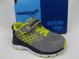 Stride Rite Baby Boy M2P Breccen Sneaker , Grey/Lime,  Size Toddler 4.0 T   1710