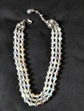 Vintage Aurora Borealis 3 Strand Necklace 1960s