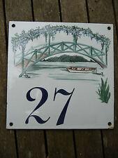 Numéro maison tole emaillée 15x15 avec decor_ N° 27