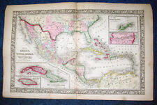 Origial 1860 Mitchell Map of MEXICO CENTRAL AMERICA WEST INDIES PANAMA RAILROAD