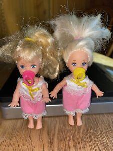 Barbies little sisters kelly Krissy 1994 2 Dolls Blonde 2 pacifiers.