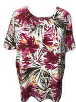Alfred Dunner 1X Soft Pink Tan Palm Fronds Short Sleeve Top Plus