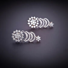 Pave 2.20 Cts Natural Diamonds Stud Earrings In Fine Hallmark 14Karat White Gold