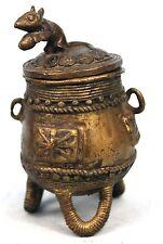 Art Africain Tribal - Boite en Bronze Baoulé - Motifs Akan & Souris - 11,5 Cms