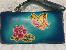 "HAND MADE EMBOSSED GENUINE LEATHER BUTTERFLY WALLET/CLUTCH/WRISTLET (4.0 X 8.0"")"