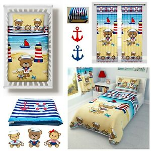 Nautical Baby Girl Boy Bedding Set Duvet Covers Curtains Cot/Cot bed/Toddler