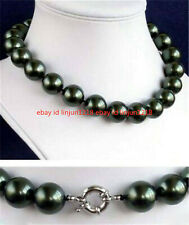 """Pretty 12mm South Sea Black Shell Pearl AAA Round Beads Necklace 18"""" AAA+"""