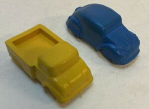 """Vintage 2.5"""" Solid Rubber VW Bug And Pickup Truck Toy Cars"""
