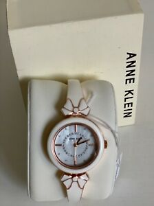 NEW! ANNE KLEIN AK GLITTER ACCENTED WHITE & ROSE GOLD ENAMEL BOW BRACELET WATCH
