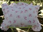 Ruffled Sham Yuwa Pink Roses and Bows on White Shabby Cottage Chic- Standard