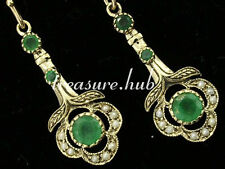 CE103 - EXQUISITE Genuine 9K Yellow Gold NATURAL Emerald & Pearl Drop Earrings