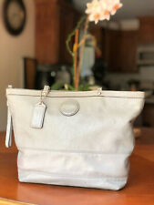 COACH Signature Gray Patent Embossed Leather Shoulder Tote Bag