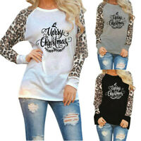 Christmas Womens Leopard Blouse Long Sleeve Fashion Ladies T-Shirt Oversize Tops