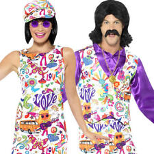 Groovy Hippy Adults Fancy Dress Peace Funky 1960s & 1970s Hippie Costume Outfits
