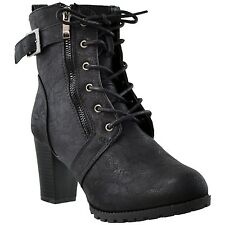 Womens Lace Up Buckle Strap High Heel Fashion Ankle Booties Black
