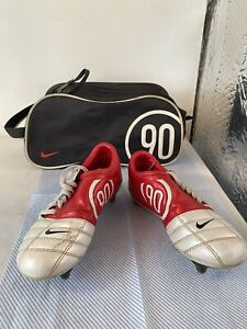2004 Nike Total 90 3 UK 4 Red Football Boots Metal Studs With Total 90 Case