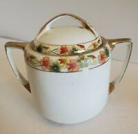 Hand Painted Nippon Sugar Bowl with Lid Yellow Orange Green Floral Gold Trim