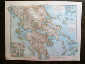 Antique BIG SIZE map. GREECE. 1898