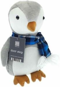 Penguin Door Stop Plush Fabric & Scarf for Home & Childrens Bedroom House Gift