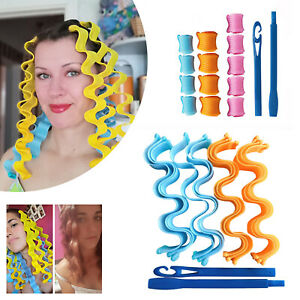 12pcs/set Magic Hair Curlers Spiral Roller Curling Styling Tool Kit No Heat 30cm