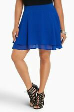 NWT Torrid Plus Size 20W Blue Dot Chiffon Layered Skater Skirt (Q13)