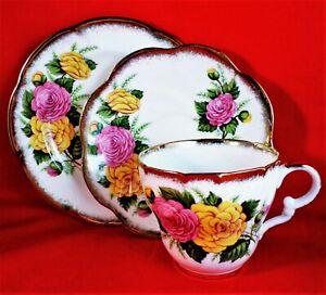 ROYAL IMPERIAL China ROSE Trio VINTAGE Tea Set 22 Kt GOLD Scalloped STUNNING
