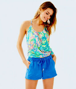 "Lilly Pulitzer NWT 4"" Baybreeze Linen Shorts Bennet Blue $68"