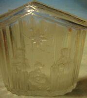 Vintage CRYSTAL CLEAR Christmas Nativity Scene Tealight Holder Holiday Decor 347