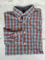 Men's TOMMY HILFIGER Red Blue Plaid Button Down Sz Small