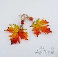 Herbst Laub Ohrringe Handgefertigt Omega Clip On Harz Orange Rot Ahorn Blätter