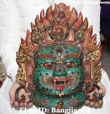 "16"" Tibet Bronze Turquoise Mahakala Wrathful Deity Buddha Head Mask Vizard Masks"