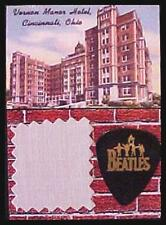 Beatles 1966 Cincinnati Bed Sheet Black Guitar Pick Display Vernon Manor Hotel
