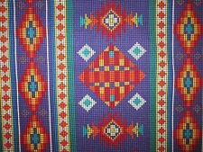 Navajo Indian Beaded Like Floral Purple Border Print Cotton Fabric BTHY