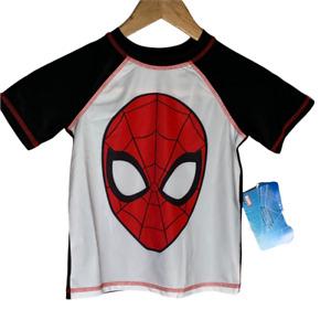 Marvel Boys Rash Guard Size XS Spiderman Swim Shirt Short Sleeves Black White