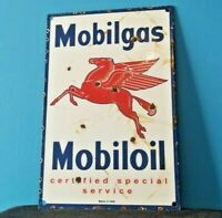 VINTAGE MOBIL GASOLINE PORCELAIN GAS OIL SERVICE STATION PUMP PEGASUS SIGN