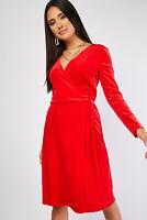 Ex-Branded Ladies Red Wrap Midi Dress Sizes UK 8 10 12 14 16 18 20 22
