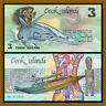 Cook Islands 3 Dollars, 1987 P-3 Shark First Issue Unc