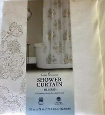 white And Gold Floral shower curtain fabric