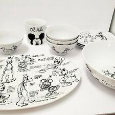 10pc Disney Sketchbook dinnerware, goofy plate bowl cups and serving platter