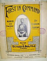 1902 Sheet Music First in Command March and Two Step by Rudolph Aronson
