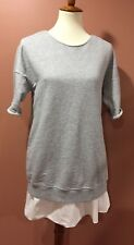 Theory Gray White Tunic Pullover Top Size 4