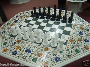 """36"""" Marble Dining Chess Table Top With 3"""" Chess Pcs Marquetry Hallway Gift Decor"""