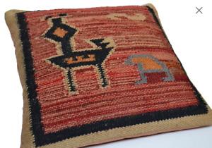 Handmade Kilim Cushion Cover Filled Bird Maroon Indian Moroccan 50cm 60cm