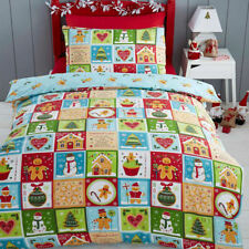 Kids Club Christmas Jolly Gingerbread Reversible Duvet Cover Set Multi Single