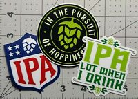 Craft Beer Gift Stickers Pack. Lot of 3 IPA Ale Waterproof Water Bottle Decals